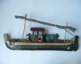 Vintage Resin French Plaster Wall Fishing Work Boat Sculpture
