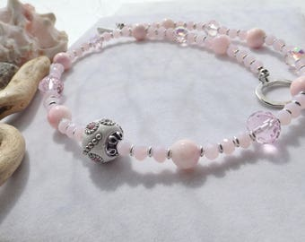 Pink, Silver Beaded Handmade Necklace with Agate, Glass, Metal Beads, Gift for Her, Weddings, Mother of the Bride, Bridal Jewelry, Spring