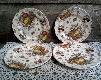 """SET OF 4 - Johnson Brothers 6 1/4"""" Bread and Butter Plate, Brown Polychrome, Brown Transferware, """"Autumns Delight"""", Serving, Wall Decor"""