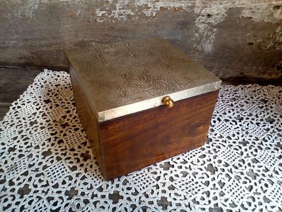 Wood & Metal Lidded Sewing Box, Trinket Box, Jewelry Box