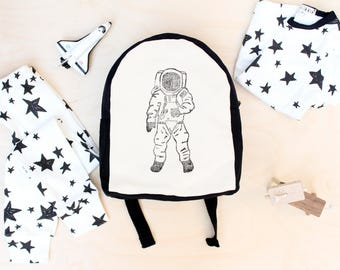 Toddler Backpack, Hand Stamped, astronaut, space, Monochrome, Kids Backpack