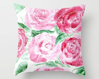 Red Rose Throw Pillow Cover, flower throw pillow, floral throw pillow, rose throw pillow, red rose pillow, modern rose pillow