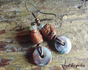 Boho Earrings Rustic Primitive Dangle & Drop Polymer Clay OOAK Beads Mykonos Patina Czech Beads Wire Wrapped Oxidized Copper Azul Sky