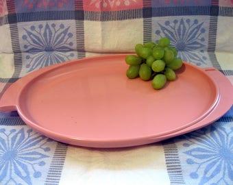 Boonton Pink Melmac, Melamine Serving Platter/Plate, Winged, Deco Style Handles, Atomic Era, mid Century