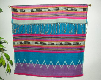 "Fringed Wall Hanging - American Southwest Mexican - Turquoise Pink - hand-tied 3.5"" fringe, soft fabric - #P"
