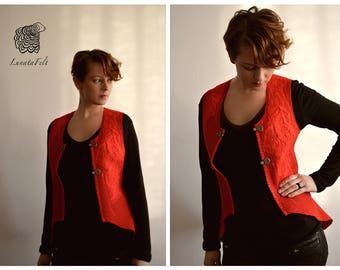 Desire - Eco and boho chic fashion felted red vest from natural merino wool and silk - OOAK - to order!