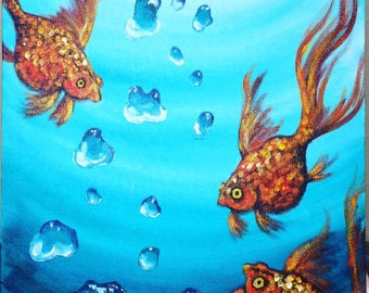 Gold Fish and Bubbles - Acrylic Painting
