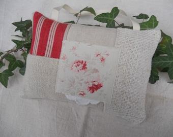 Door textile antique 19th scented Lavender pillow hemp linen fabric has flowered cloth mattress old