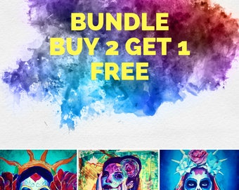 Buy 2 Get 1 Free Day of the Dead Sugar Skull Dia De Los Muerto 12x18 Poster  Mexican Print Wall Art Colorful Abstract Pop Art