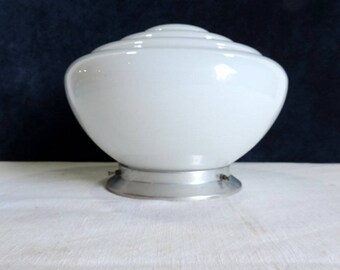 Mid century, vintage French, industrial milk glass ceiling light or wall light