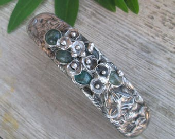 metal barrette with  blue apatite