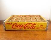 Vintage Coca Cola Crate 1965, 24 Bottle Yellow Coke Spice Rack
