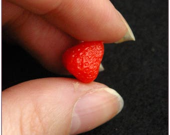 Small miniature Strawberry creations gourmet polymer clay kawaii x 1