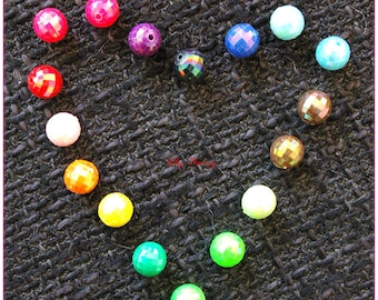 "Pearls ""faceted"" multicolored round mother of Pearl effect 10mm in diameter x 1"