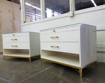 BUILT TO ORDER // Hollywood Regency Lacquered Nightstands with Solid Brass Base