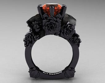 Love and Sorrow 5K Black Gold 3.0 Ct Orange Sapphire Skull and Rose Solitaire Engagement Ring R713-5KBGOS