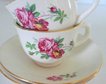 Cute Egersund Pink Flowers Cup and Saucers - Pastels 1960s Vintage Scandinavian cups Set of two