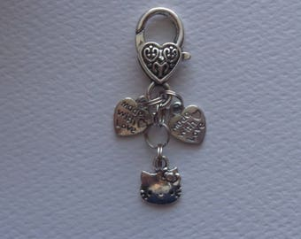 Hello Kitty Keychain for women, Purse Charm, Women shoe, Purse, Handmade Charm, Fob,  Bag Dangle, Purse Jewelry, Antique Tibet Lobster Clasp
