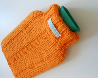 TheCraftyElks: Hand Knitted Hot Water Bottle Cover (Cosy) in Mustard Yellow - Merino Wool Blend