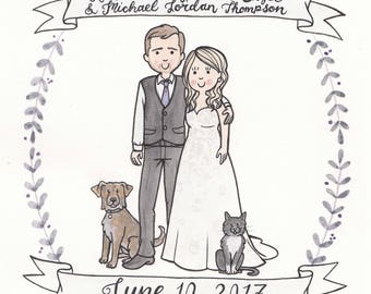 8x10 Custom Cartoon Wedding Portrait