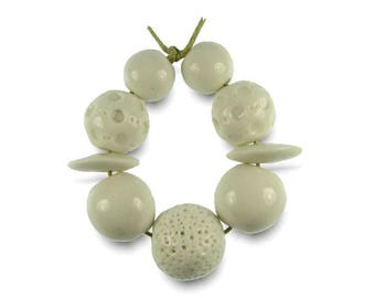 Pure White Porcelain Beads, Handmade Ceramic Beads, Artisan Beads, Balelaceramics, South Africa
