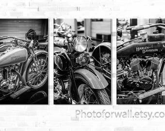 Set of 3 prints Harley Close up Photo Prints, Black and White Fine Art, Wall decor,