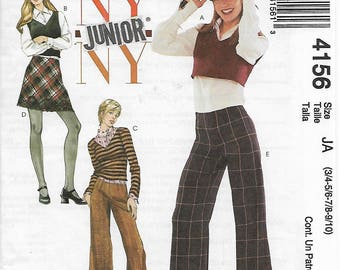 McCall's 4156 NY NY Junior Size 3/4-5/6-7/8-9/10 or 11/12-13/14-15/16-17/18 Juniors' Tops, Skirt and Pants Sewing Pattern 2003 Uncut