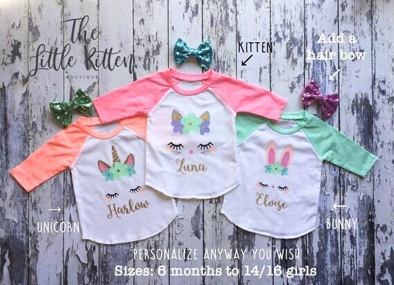 Unicorn Shirt, unicorn party, unicorn outfit, unicorn,  personalized girls birthday shirt, girls raglans, easter shirt, unicorn birthday