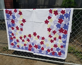 Vintage Tablecloth Yellow Blue Red and Purple Leaves