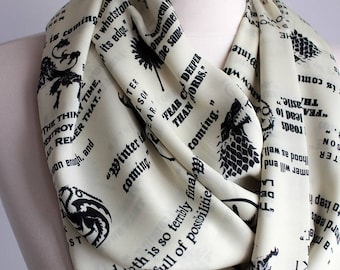 Game of Thrones Infinity Scarf Geek Literary Gifts For Her Girlfriend Gift Ideas Autumn Fashion Accessories