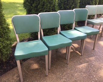 Vintage set of General Fireproof Industrial Chairs, Metal Chair, Office Chair, Machine Age, Aluminum