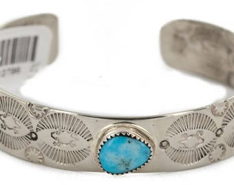180 Retail Tag Handmade Authentic Made by Robert Little Navajo Horned Lizard Nickel Natural Turquoise Native American Bracelet 12796-5