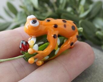 Frog, Lampwork Frog, Handmade Lampwork Bead, Lampwork Glass Bead, Green Frog, Lampwork, Lampwork Glass, Glass Frog