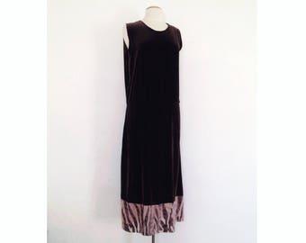 20s style dress brown drop waist dress long velvet dress 1920s style 30s style dress 1930s sleeveless