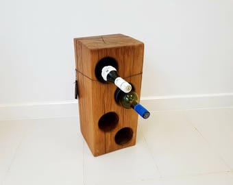 Solid Oak Wine Rack 4 bottle Holder Rustic One off Large Floor Standing Free Delivery