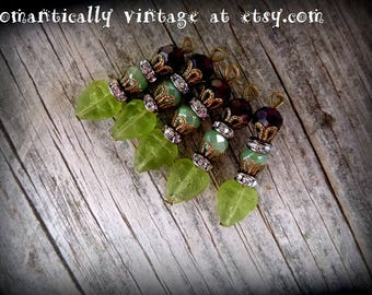 Beaded, Charms, Handmade,  Shabby Chic, Embellishments, Vintage Inspired, Earrings, Fall