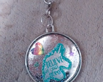 Glitter 'Believe in Your Dreams' Unicorn Metal Charm