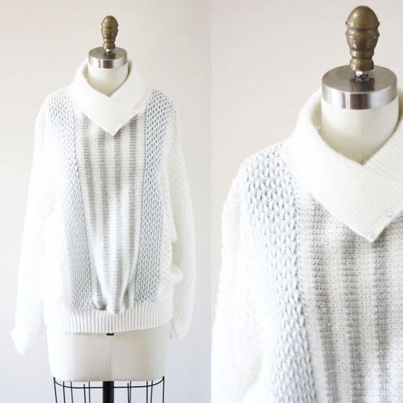 1980s white fuzzy sweater // vintage sportswear // vintage womens