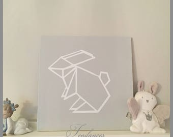 Gray has loving table put white rabbit