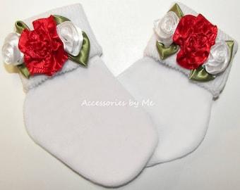 Rose Socks, Red White Rose Trim Socks, Frilly Flower Sock, Girls Baby Infant Toddler Newborn Dressy Socks, Baby's 1st Christmas Santa Photo
