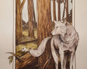"""Grey Wolf In the Redwoods 10×16"""" prints"""