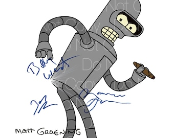 Futurama signed 3 Bender Matt Groening, Bill West, John Dimmagio, and Maurice Larmache 8X10 photo picture poster autograph RP