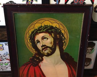 Vintage Jesus 'Crown of Thorns' Lithograph in original wooden frame