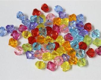 300 multicolor acrylic bicone beads, 6mm