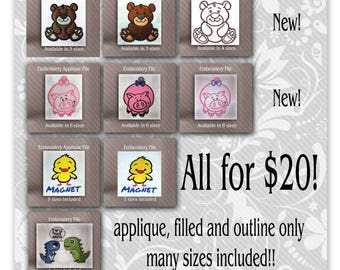 Embroidery files sale baby bear pig chick and dinosaur