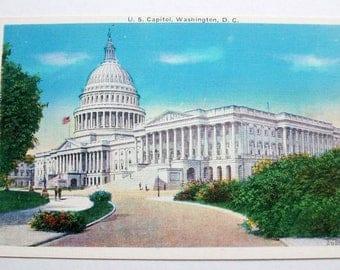 U S Capitol.  Washington DC. Vintage postcard. Linen finish unused.