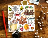 Christmas card, Holiday card. Figgy Pudding. Gingerbread. Eggnog. Mulled wine.