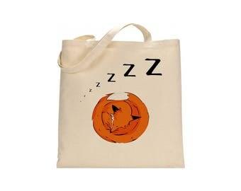 Cotton fox tote, Sleeping fox bag, shopping bag, shoulder bag, fox handbag, hand painted