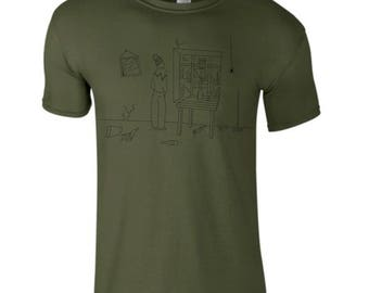 hipster t shirt, hand drawn illustration, window guy tee, messy room drawing