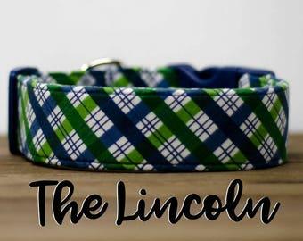 "Modern Menswear Inspired Green & Blue Plaid Dog Collar ""The Lincoln"""